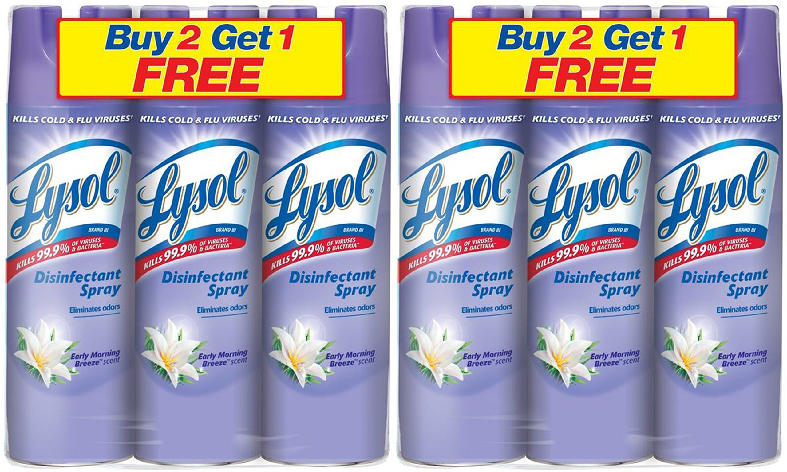 A World Of Deals Lysol Disinfectant Spray, Early Morning Breeze Scent, 19 oz., pack of 6