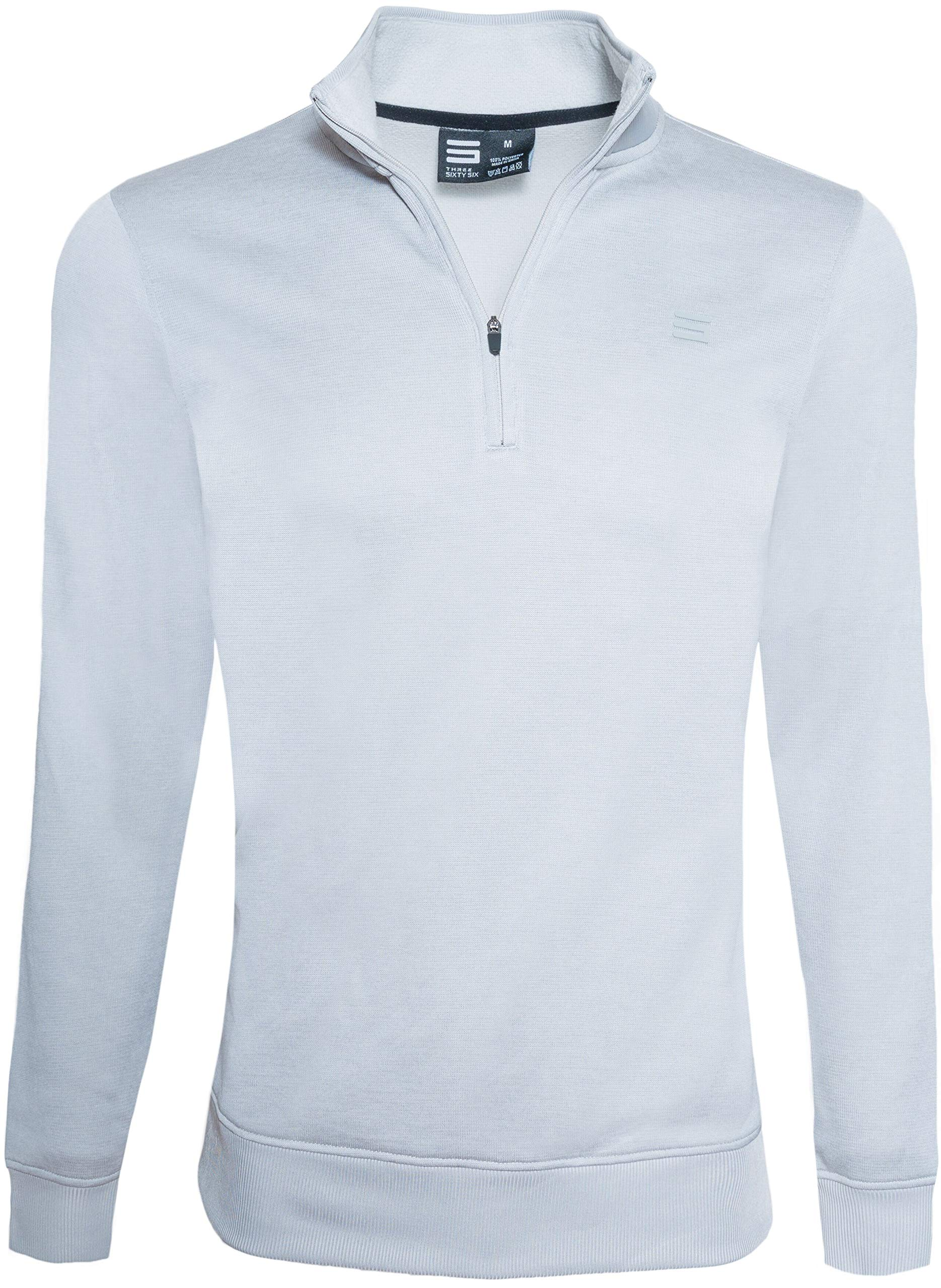 Dry Fit Pullover Sweaters for Men - Quarter Zip Fleece Golf Jacket - Tailored Fit Light Grey by Three Sixty Six