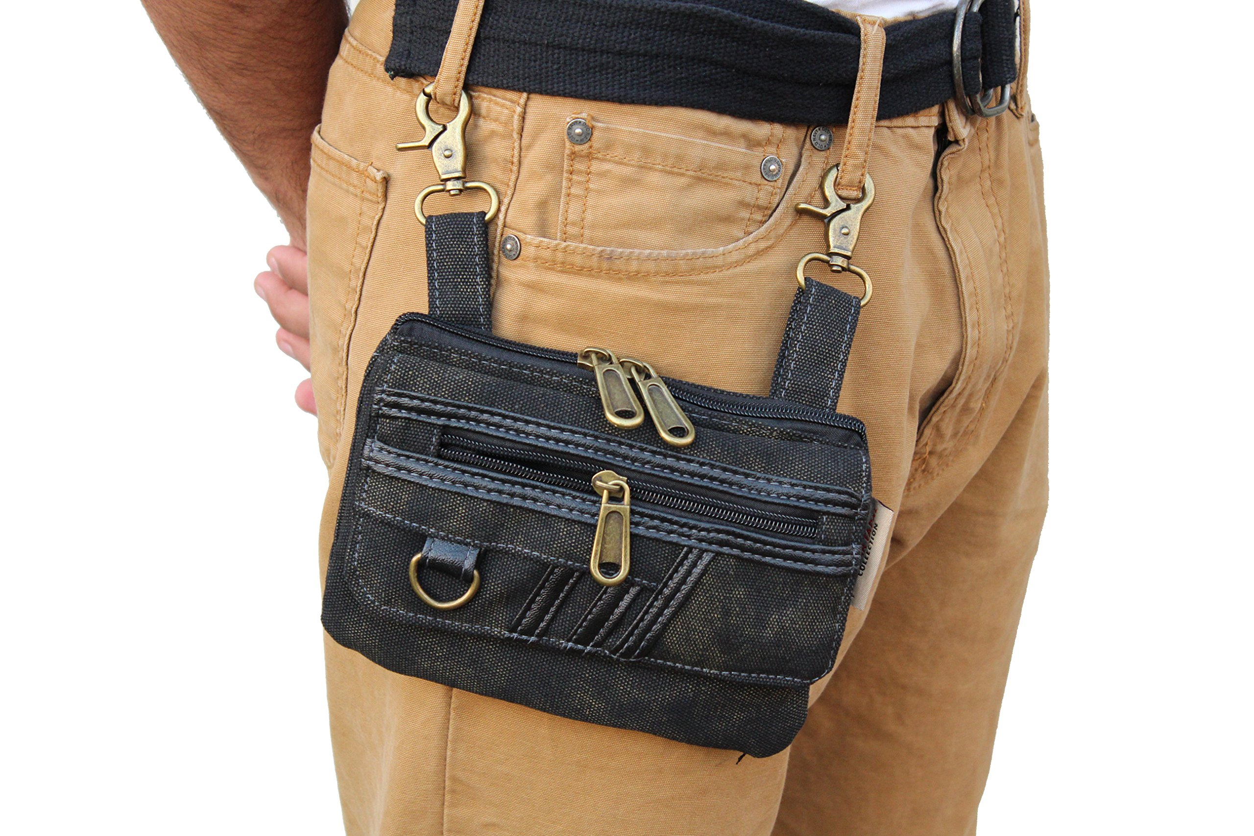 Black JTC-52-LB Stripe Loop Bag by Juzar Tapal Collection