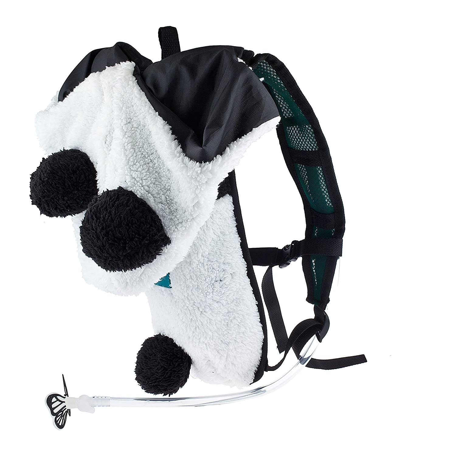 Dan-Pak Hydration Pack 2l – Party Panda – Black and White Plush Furry Hood rave backpack
