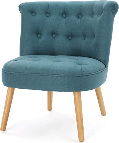 Christopher Knight Home Cicely Fabric Tufted Chair, Dark Teal