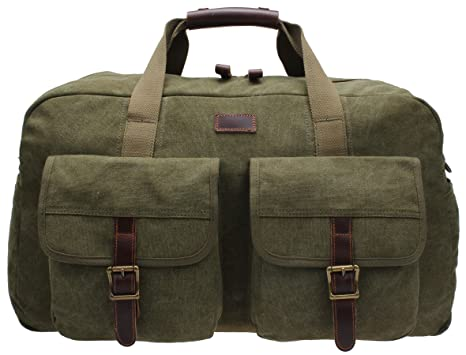 Amazon.com: Mens Weekender Bag Canvas Overnight Duffel Travel ...
