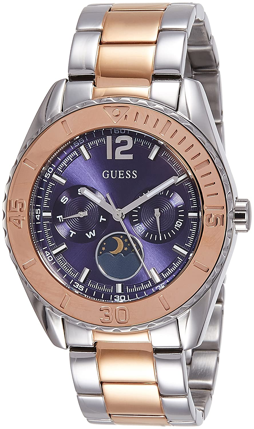 Amazon.com: GUESS W0565L3 Moonstruck Ladies Multi Function Two Tones Metal Case & Bracelet: Watches