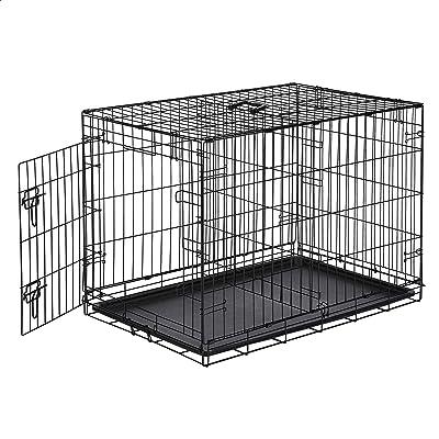 AmazonBasics Single-Door & Double-Door Folding Metal Dog or Pet Crate Kennel