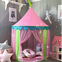 """Kids Tent Princess Castle for Girls - Glitter Castle Pop Up Play Tent with Fairy Stick and Tote Bag- Children Playhouse Toy for Indoor and Outdoor Game 41"""" X 55""""(DxH)"""