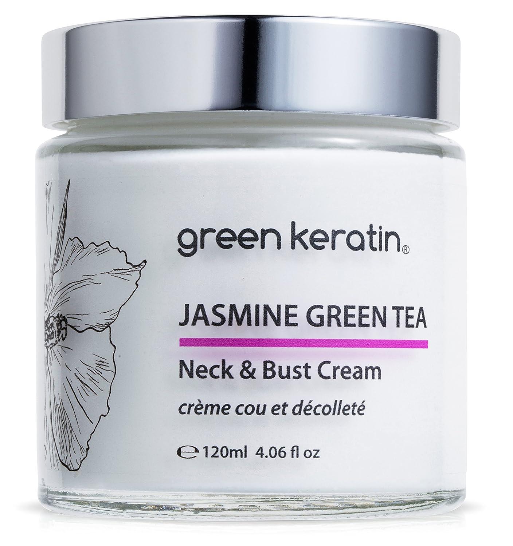 Jasmine et le Thé Vert * Crème Cou et Décolleté * Avec l'huile d'Argan bio et concentré acide hyaluronique - taille professionnel : 120ml Green Keratin Jasmine Green Tea