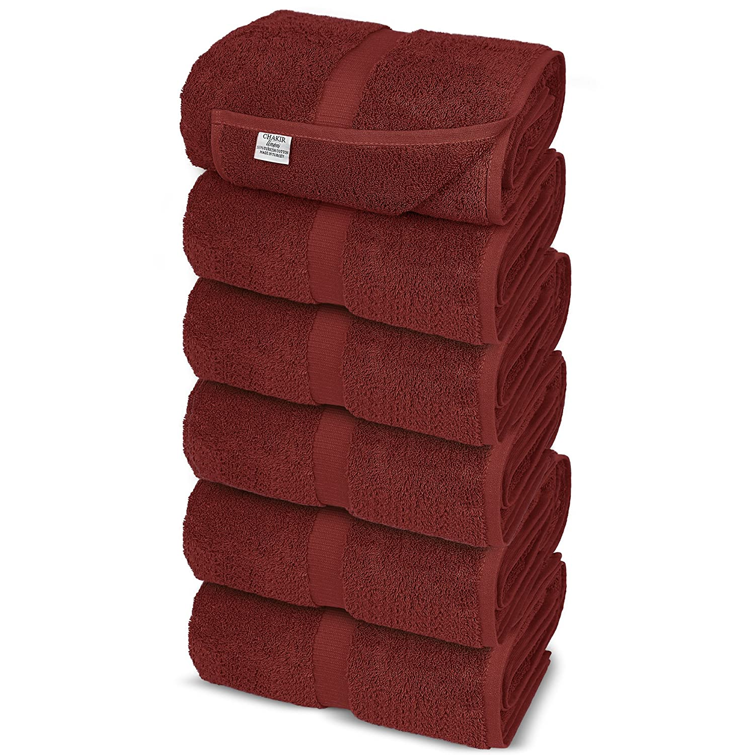 Chakir Turkish Linens Turkish Cotton Luxury Hotel & Spa Bath Towel, Hand Towel - Set of 6, Cranberry