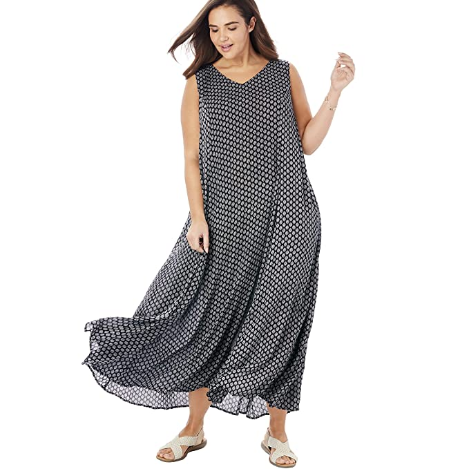 b729dc00c Woman Within Women's Plus Size Sleeveless Crinkle A-Line Dress at Amazon  Women's Clothing store
