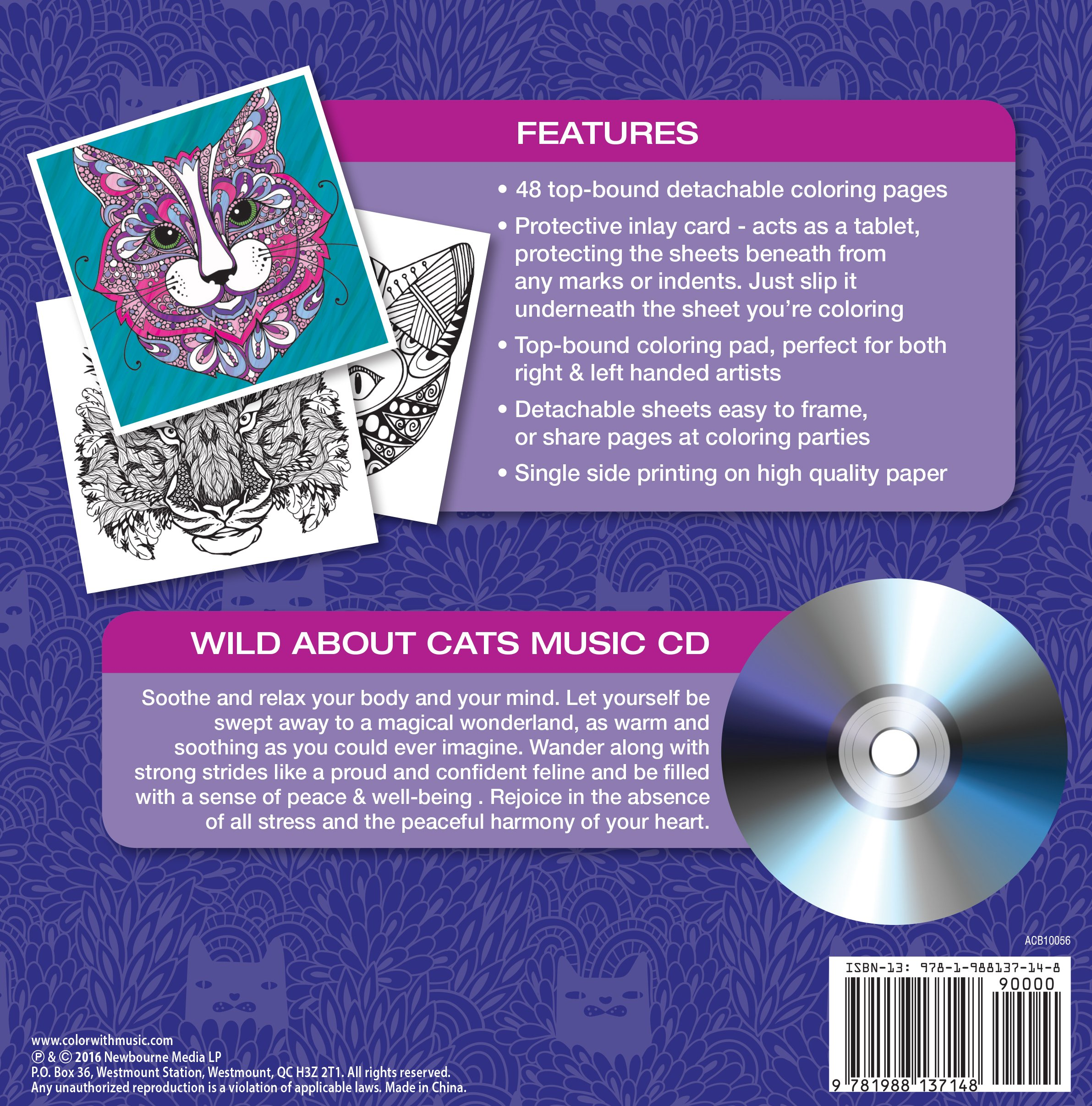 Stress relieving cats coloring - Amazon Com Wild About Cats Adult Coloring Book With Bonus Relaxation Music Cd Included Color With Music 9781988137148 Newbourne Media Books