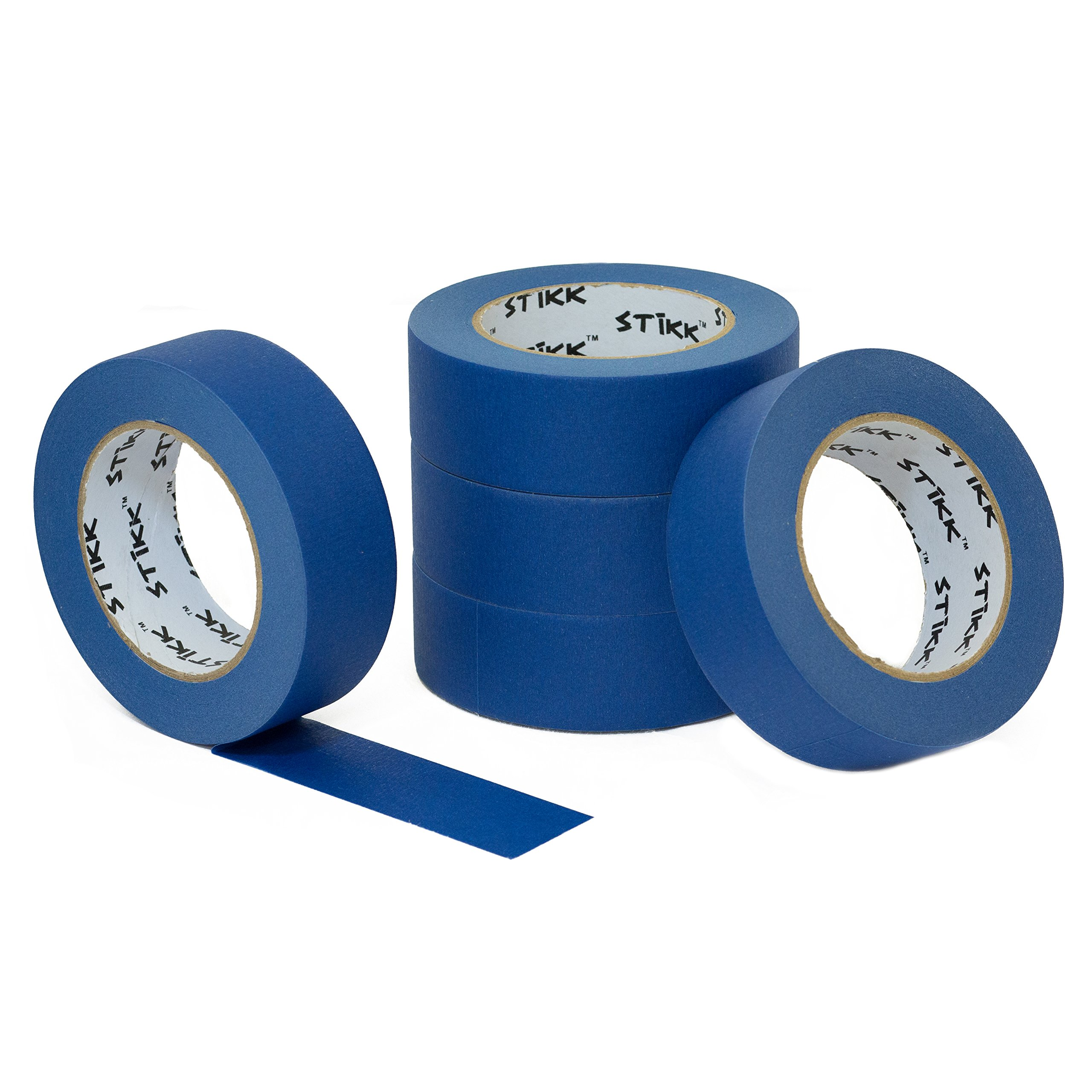 5 Pack 1.5'' x 60 yd STIKK Blue Painters Tape 14 Day Clean Release Trim Edge Finishing Masking Tape (1.44 IN 36MM)