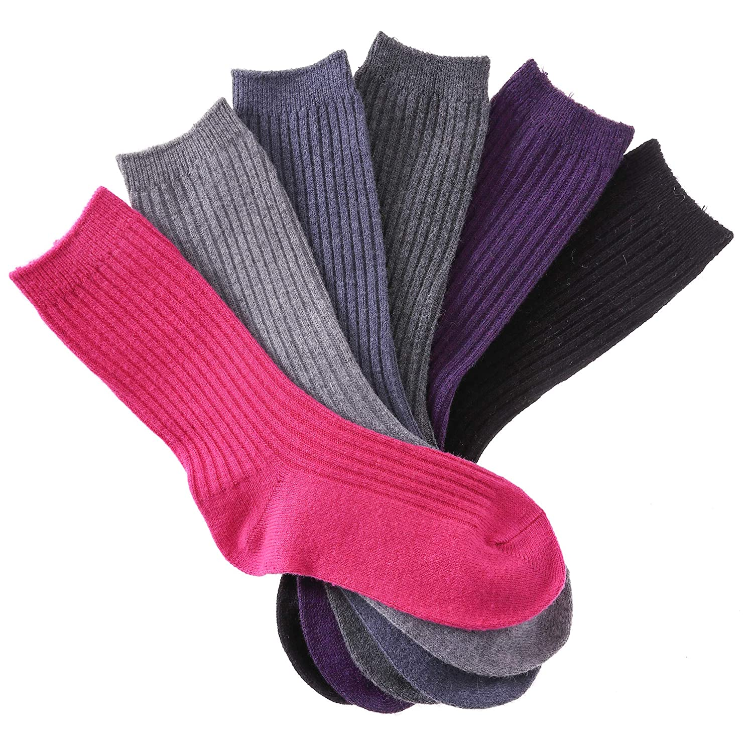 AOXION Kids Girls Boys Wool Socks Childrens Thick Soft Warm Seamless Crew Winter Socks 6 Pack
