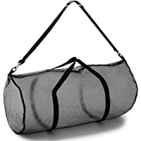 """Champion Sports Mesh Duffle Bag with Zipper and Adjustable Shoulder Strap, 15"""" x 36"""" - Multipurpose, Oversized Gym Bag for Equipment, Sports Gear, Laundry - Breathable Mesh Scuba and Travel Bag"""
