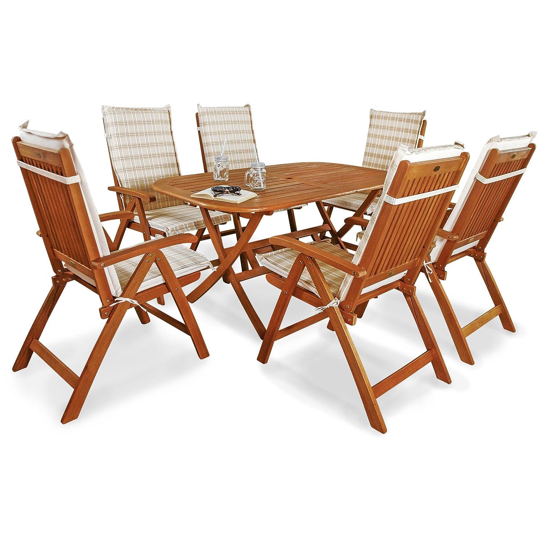 indoba® IND-70064-BASE7 + IND-70411-AUHL - Serie Bangor - Gartenmöbel Set 13-teilig aus Holz FSC zertifiziert - 6 klappbare Gartenstühle + klappbarer Gartentisch + 6 Comfort Auflagen Karo Beige