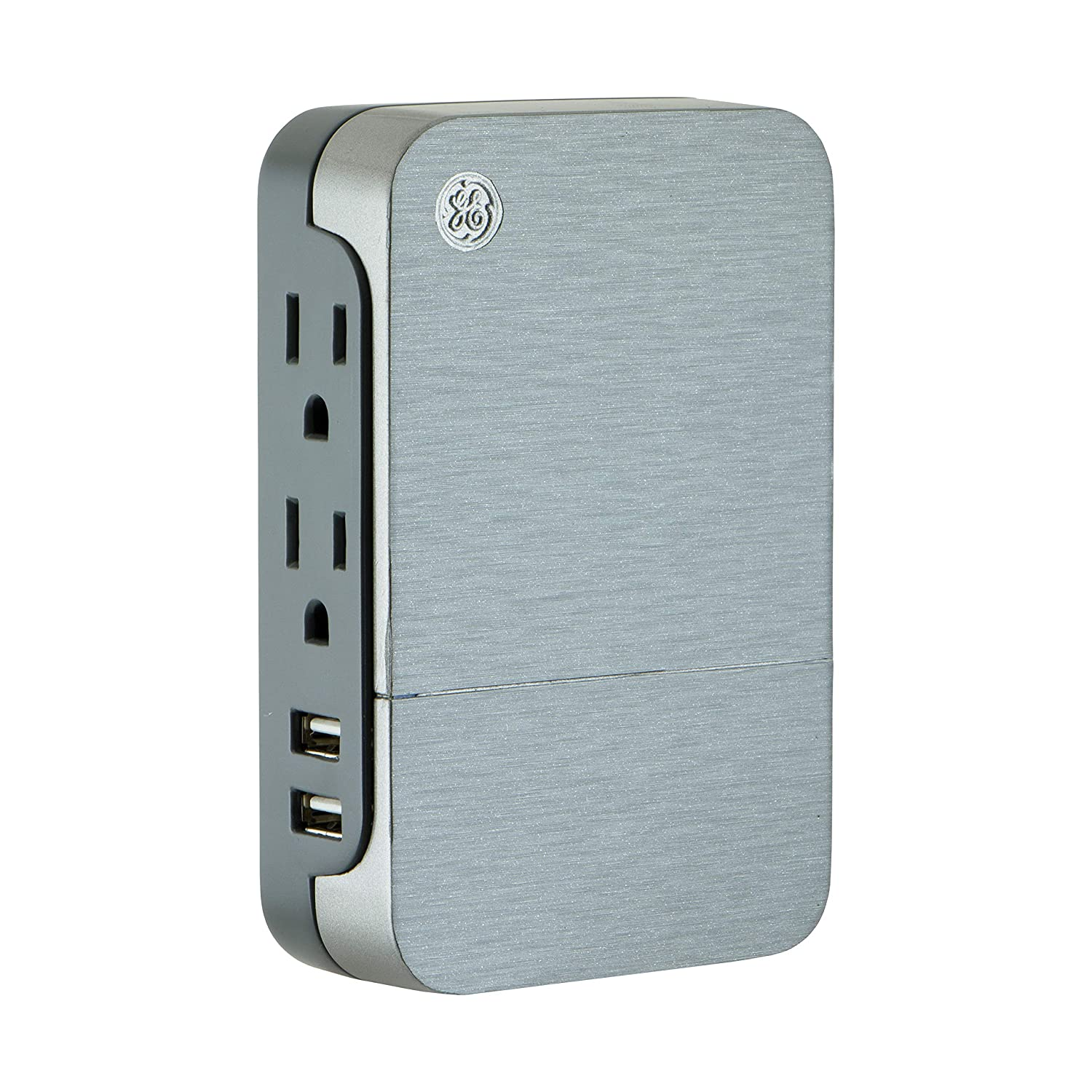 GE Ultrapro 2 Outlet + 2 USB Side Access Surge Protector Tap, Plug-In, 2.4 Amp, 860 Joules, 2 Outlet + 2 USB, Silver, 33642