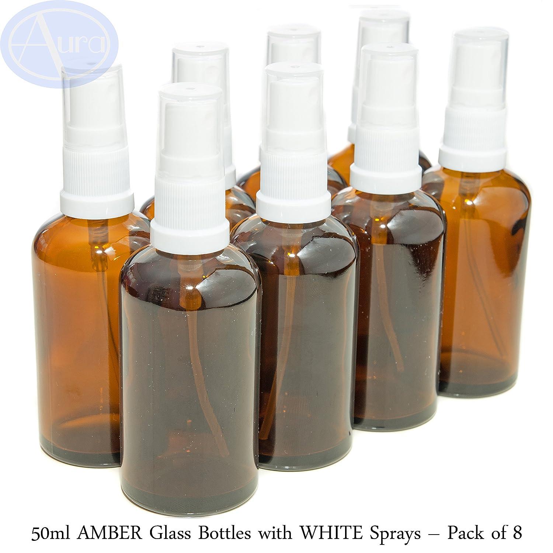 Bottiglie 50ml in vetro ambrato con diffusore spray bianco - Confezione da 8 Aura Essential Oils