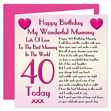 Mummy 40th Happy Birthday Card