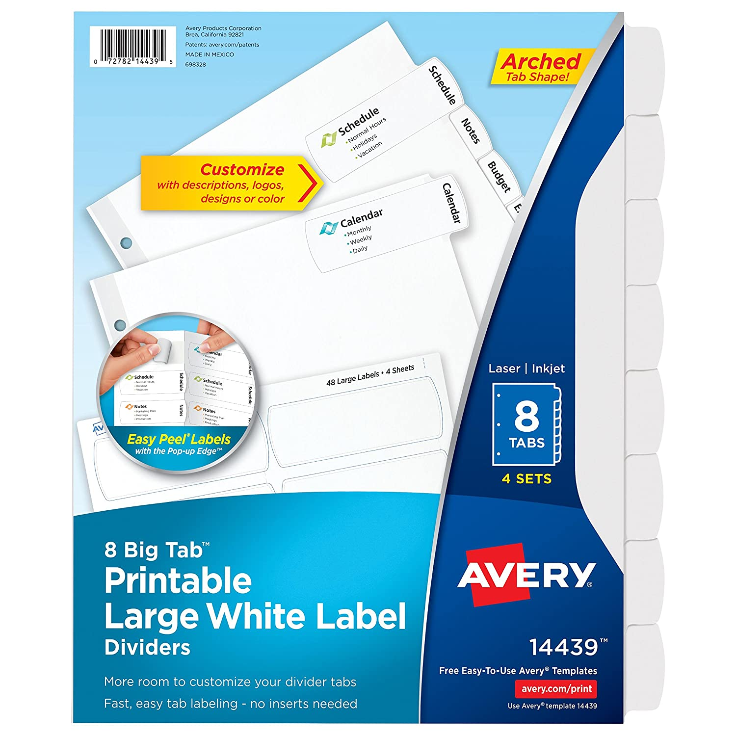 Avery Big Tab Printable Large White Label Dividers with Easy Peel, 8 Tabs, 20 Sets (14441) Avery Products Corporation