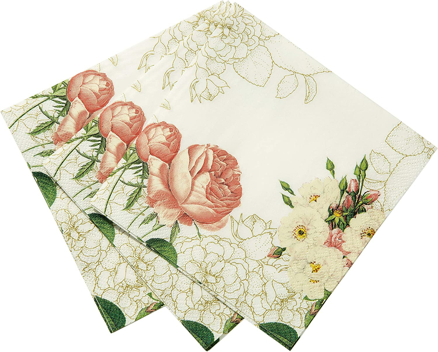 Talking Tables Vintage Floral Napkins | Great For Bridal Shower, Baby Shower, Tea Party, Wedding and Anniversary | Paper, 20 Pack