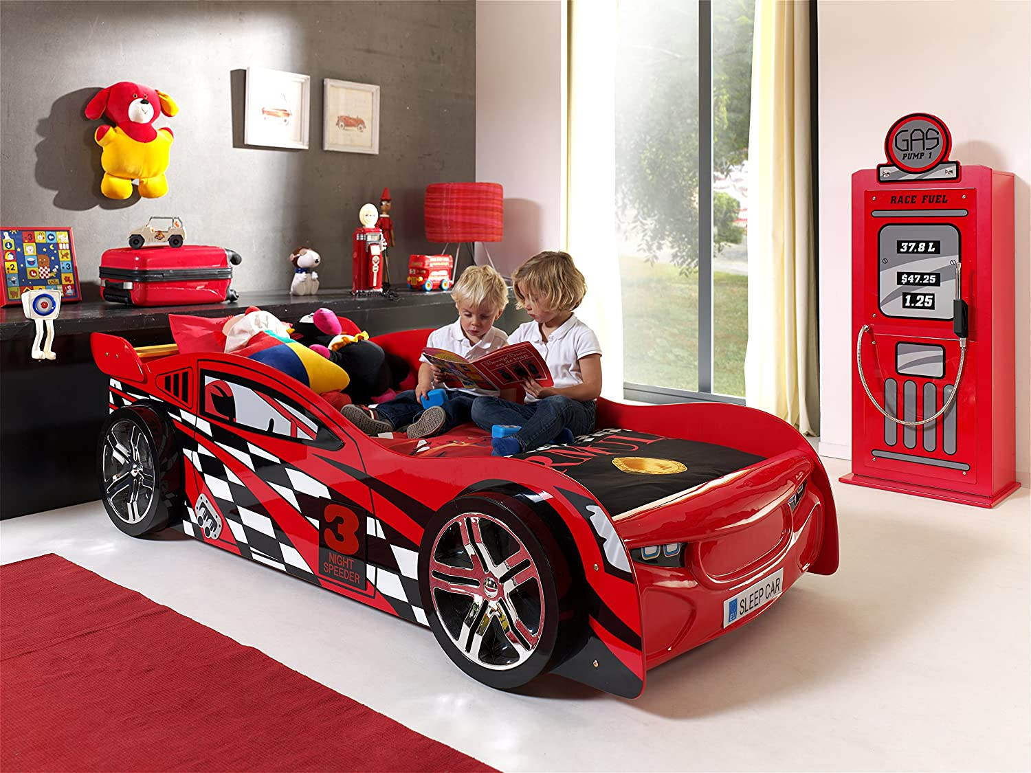 Vipack SCNS200R Night Speeder Lit Voiture Enfant MDF Rouge 229 x 110 ...