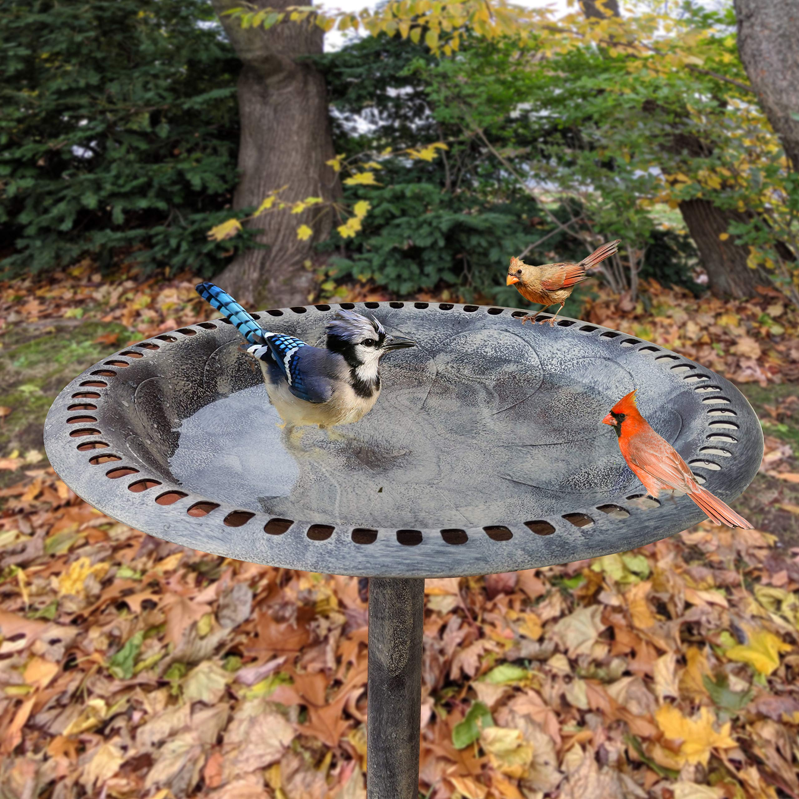 Gray Bunny GB-6906GRY, Outdoor Pedestal Bird Bath Stand with Steel Ground Anchors, Stylish & Elegant Faux Stone Designed Garden Ornament Made from Plastic, Lawn Patio Garden Sculpture Water Container by Gray Bunny (Image #4)