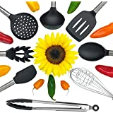 Kitchen Utensil Set - 8 Premium Nonstick Stainless Steel and Silicone Cooking Tools -Includes Spoon, Two Stage Whisk, Serving Tong, Spatula Tools, Pasta Server, Deep Ladle, Strainer