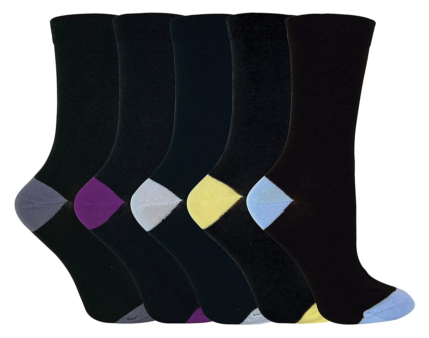 Sock Snob® - Womens soft top black coloured toes cotton rich socks in a multipack SHATCC_9928