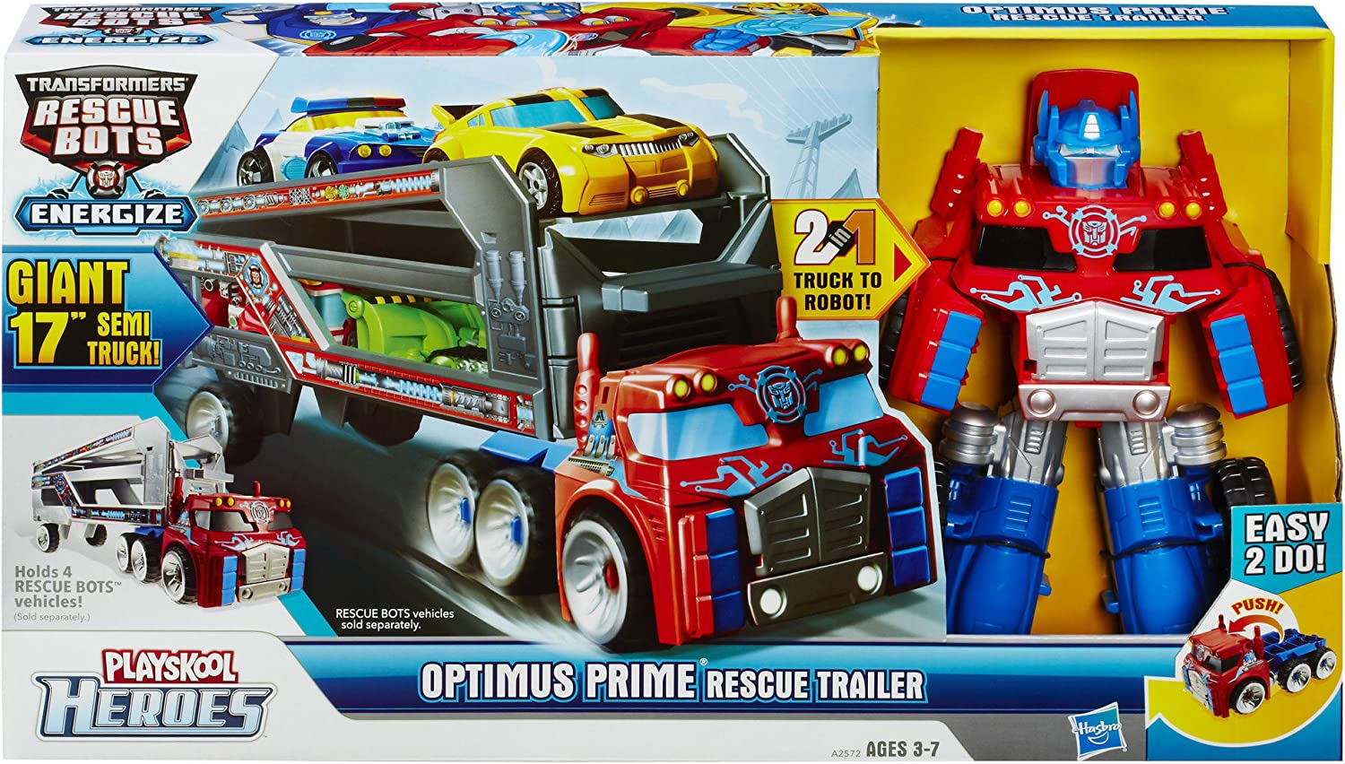 "Playskool Heroes Optimus Prime 17/"" Rescue Bots Trailer Kohl/'s Exclusive New"
