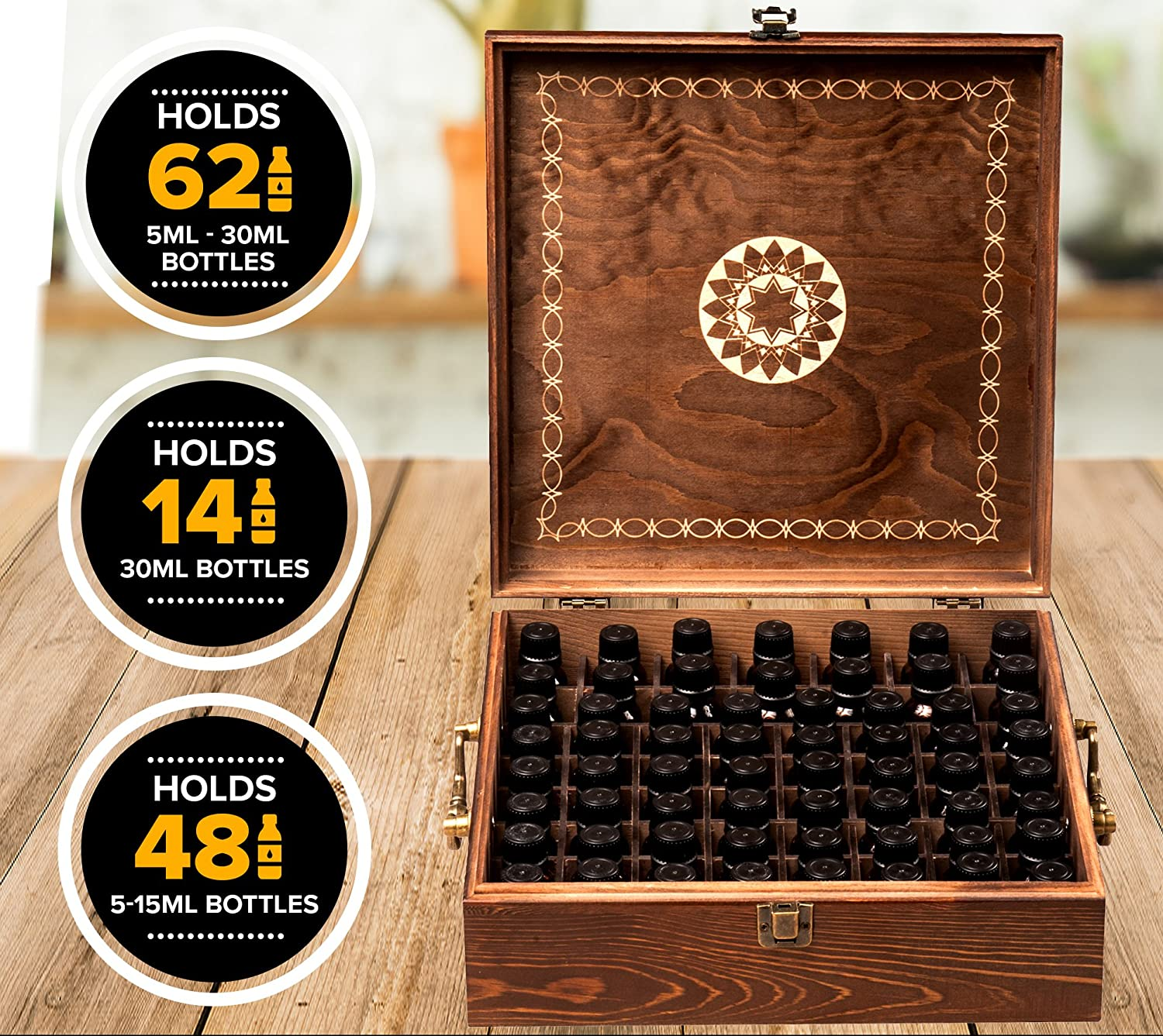 Amazon.com: Beautiful Essential Oil Box - 62 Bottle with 2 Carry ...