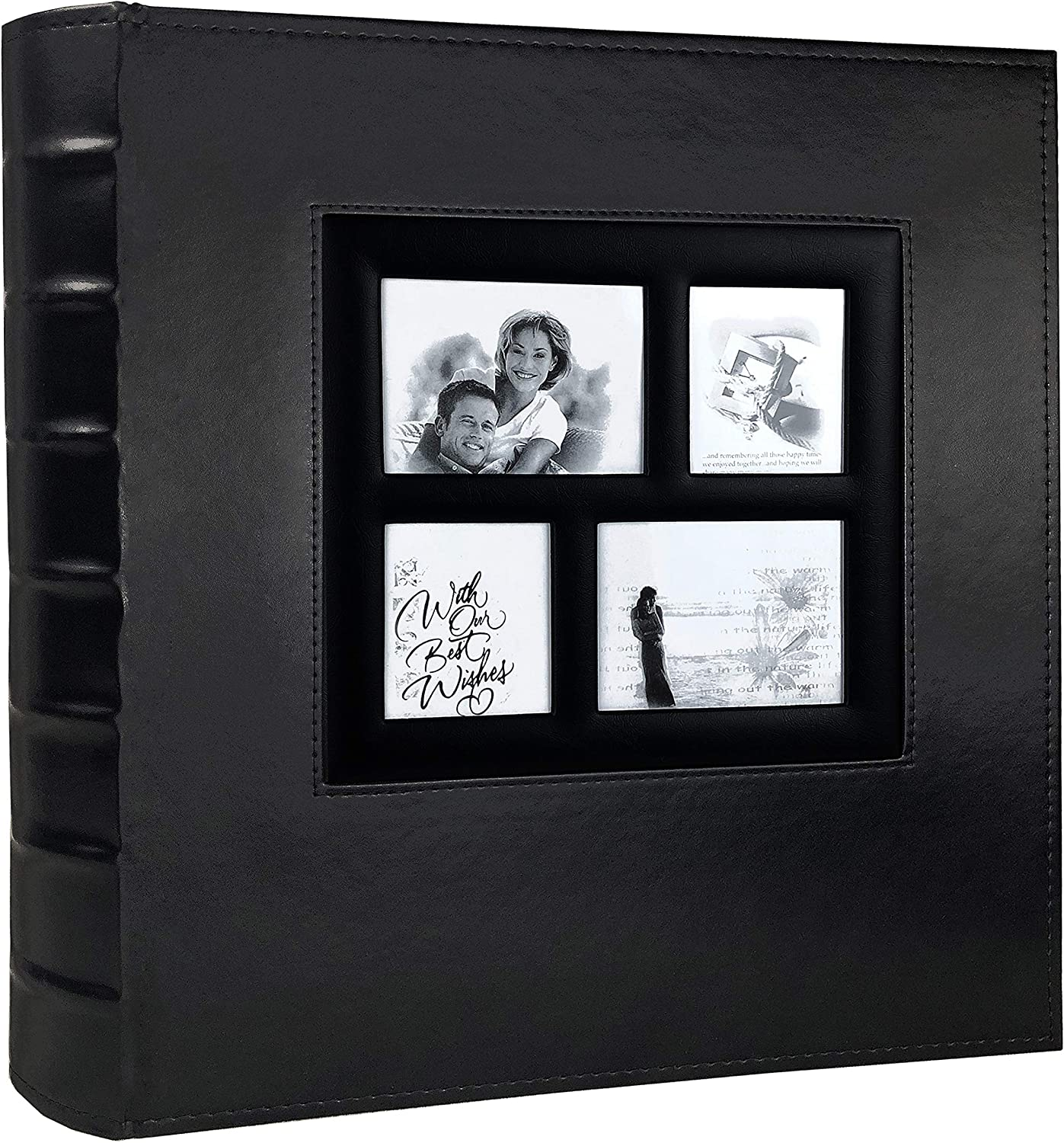 RECUTMS Photo Album 4x6 Holds 500 Photos Black Pages Large Capacity Leather Cover Wedding Family Baby Photo Albums Book Horizontal and Vertical Photos (Black)