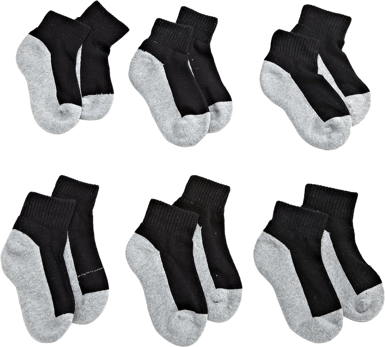 Jefferies Socks Boys' Seamless Quarter-Height Half Cushion Socks (Pack of 6): Underwear: Clothing