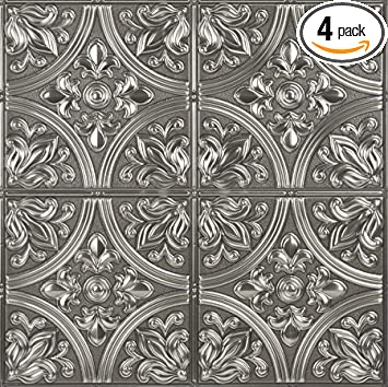 Achim Home Furnishings Metallo Peel /&Amp; Stick Vinyl Wall Tiles C 4 By 4-Inch
