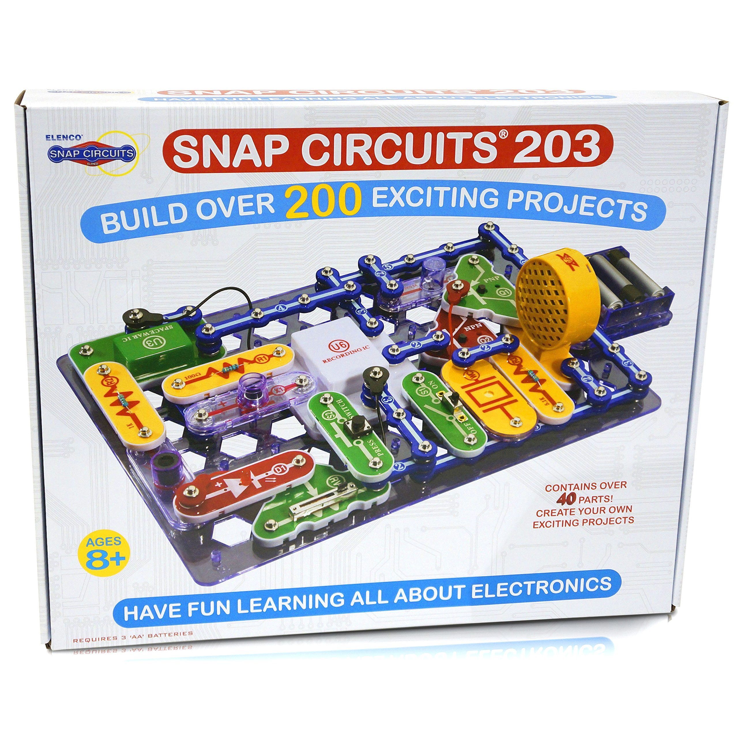 Snap Circuits 203 Electronics Exploration Kit | Over 200 STEM Projects | 4-Color Project Manual | 42 Snap Modules | Unlimited Fun by Snap Circuits