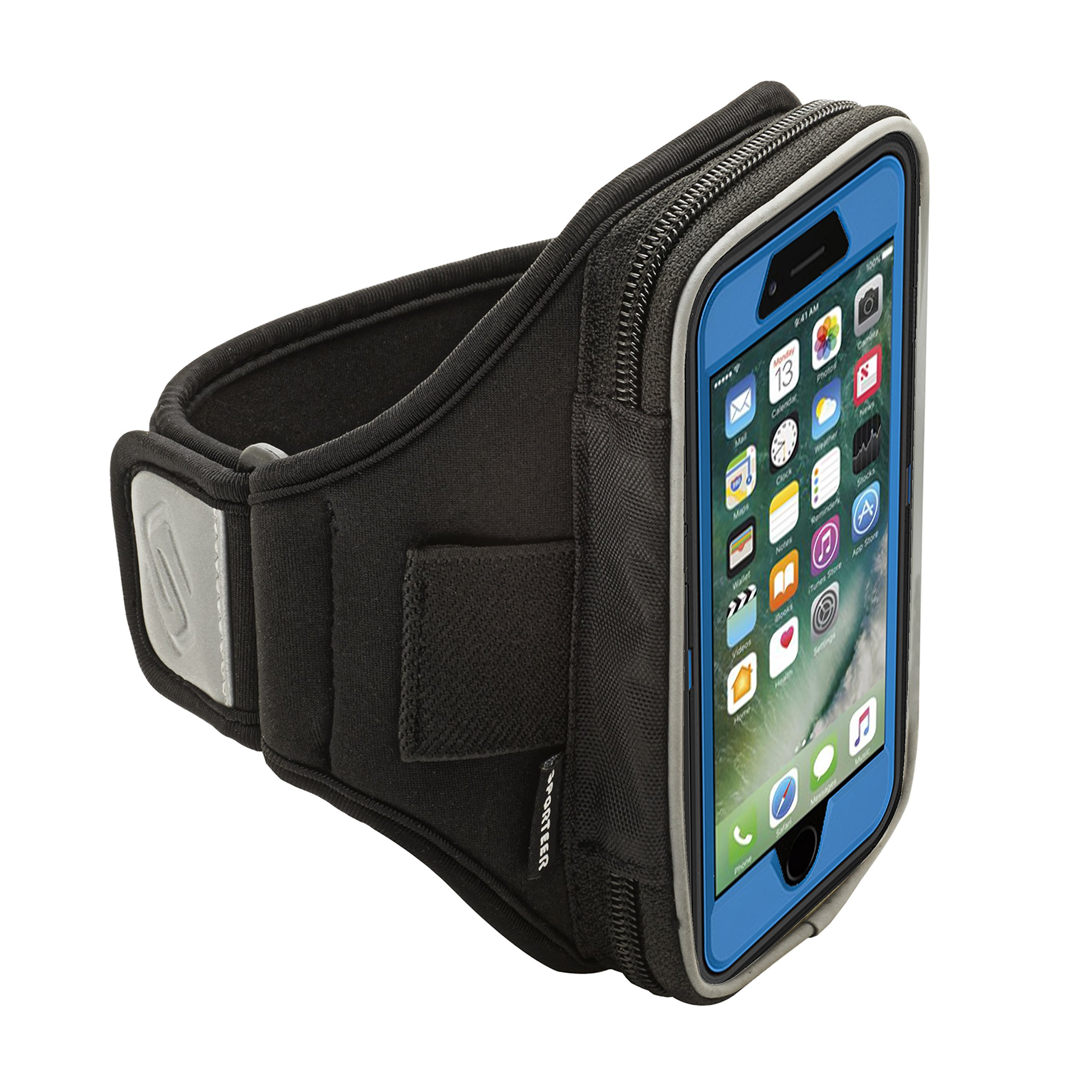 Sporteer Velocity V6 Armband for iPhone Xs, iPhone X, iPhone 8, iPhone 7, iPhone 6S and iPhone 6 with OtterBox Cases and Other Cases & Battery Cases - Strap Size Medium/Large (M/L) (Black)