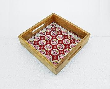 Bandeja de madera, bandeja, Shabby Chic, Vintage patrón de impresión de Rose,