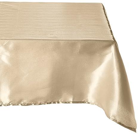LinenTablecloth 60 X 102 Inch Rectangular Satin Tablecloth Gold