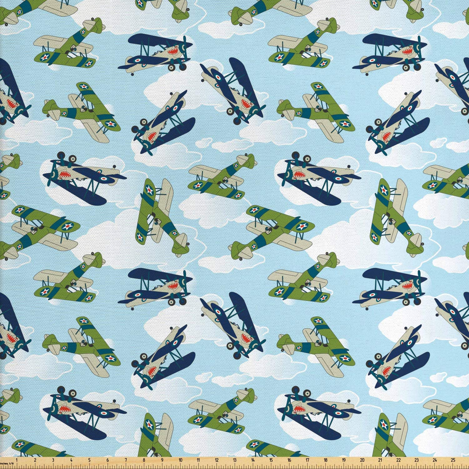 Lunarable Airplane Fabric by The Yard, Vintage Allied Plane Flying Pattern Cartoon Children Kids Shark Teeth, Decorative Fabric for Upholstery and Home Accents, 1 Yard, Olive Green