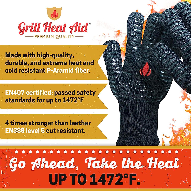 Grill Heat Aid BBQ Gloves Heat Resistant 1,472℉ Extreme.Kitchen Dexterity Handl