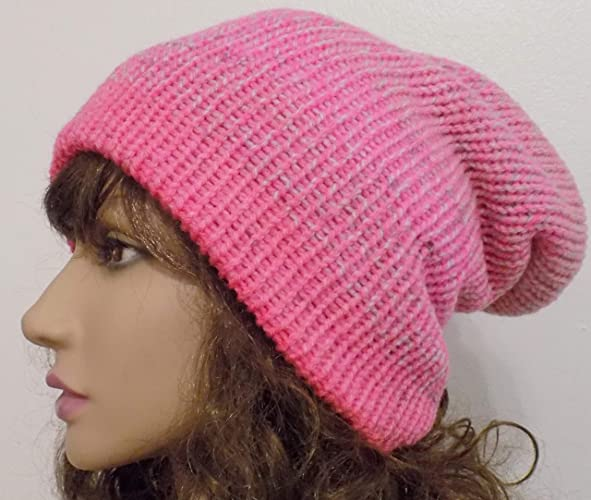 bf7ac822 Amazon.com: Pink Slouchy Beanie Hat Cuffed Reversible: Handmade