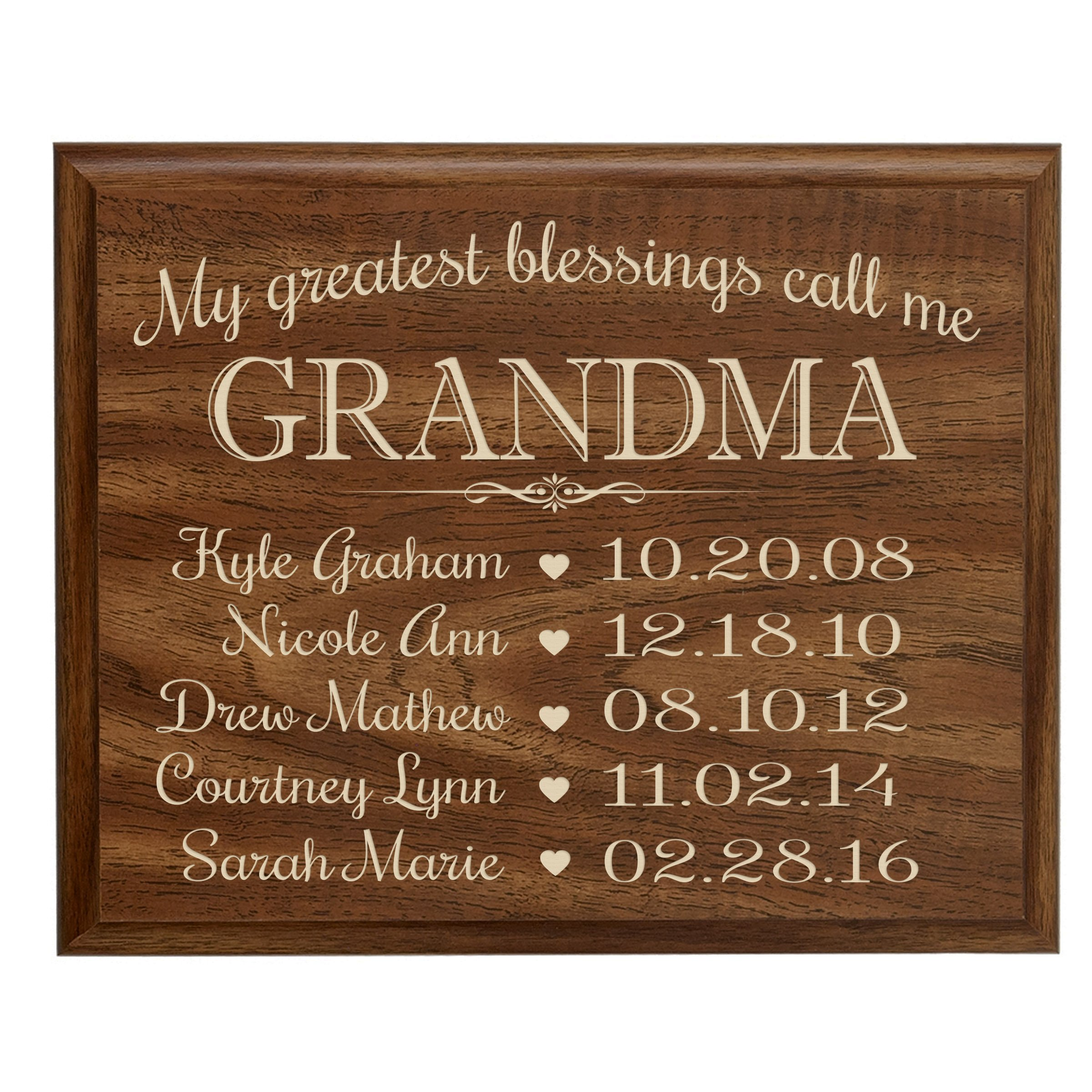 Personalized Gifts for Grandma with Family Established Year plaque with children's names and birth date dates to remember My Greatest blessings call me Grandma by LifeSong Milestones (9x12, Walnut)