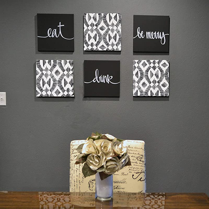 Black And White Dining Room Wall Art Eat Drink Be Merry Canvas Decor Signs Set Handmade Amazon Com