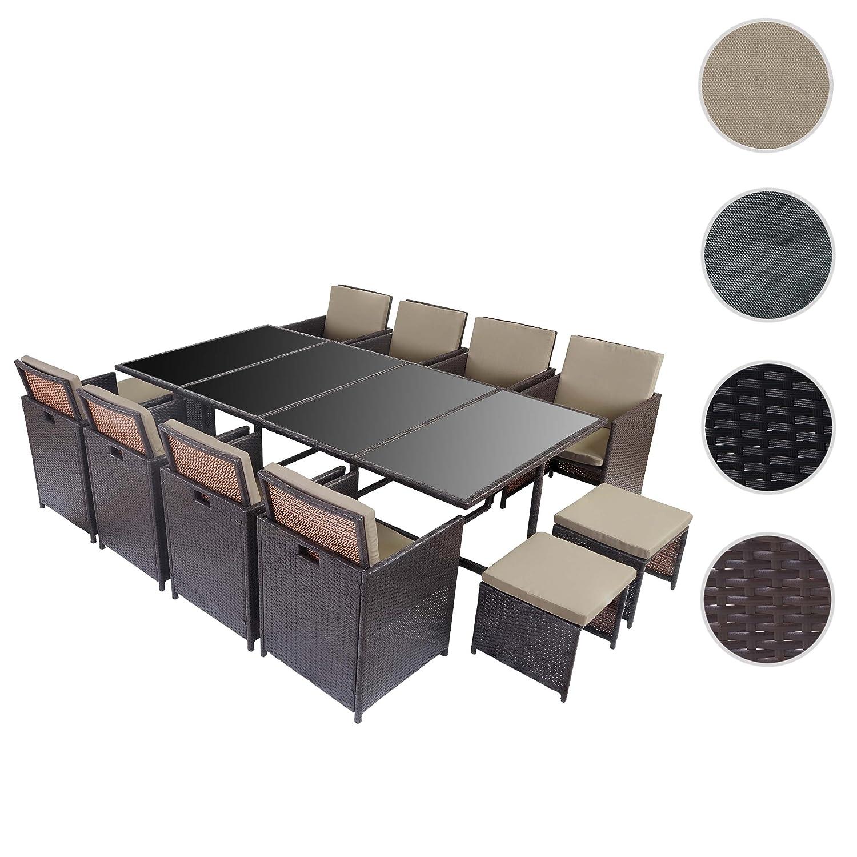 Poly Rattan Garten Garnitur Kreta, Lounge Set Sitzgruppe 12 Sitzplätze ~  Braun, Kissen Beige Online Bestellen