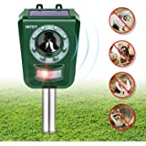 INTEY Solar Ultrasonic Animal Repellent and Pest Repeller, Upgraded Sound Animal Deterrent, Mouse, Squirrels, Cat, Dog Repeller Waterproof Outdoor Animal Scarer