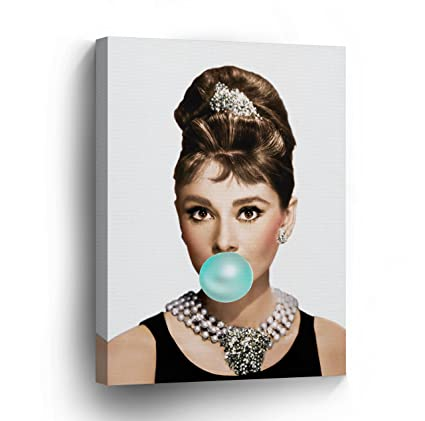 Amazon.com: Audrey Hepburn Chewing Gum Canvas Print Home Decor ...