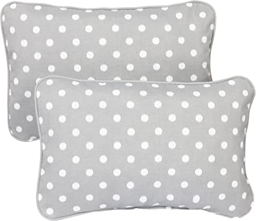 Mozaic Company Indoor Outdoor 12 by 18-inch Corded Pillow, Grey Dots, Set of 2