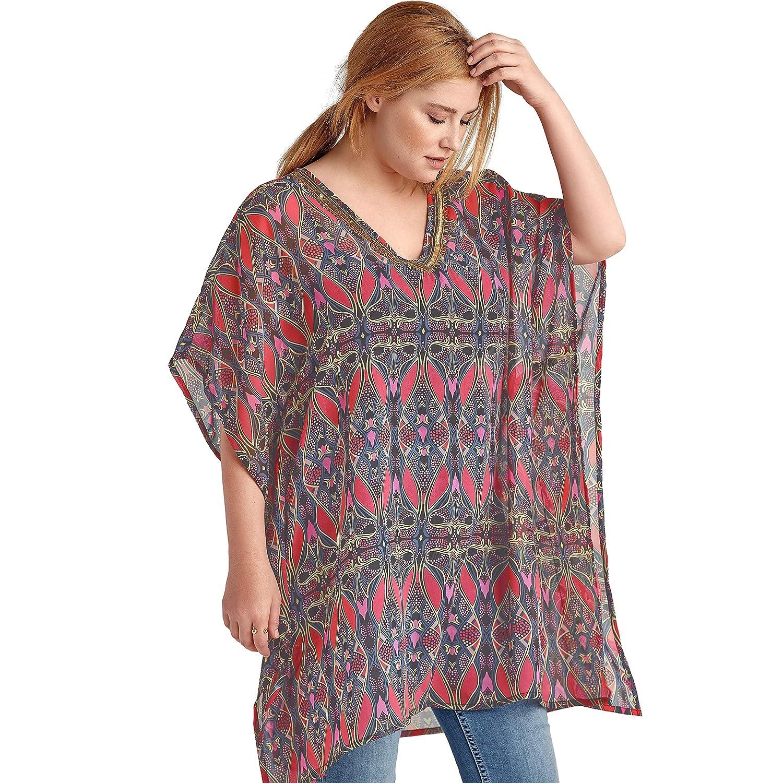 Ellos Womens Plus Size Bead Trim Caftan Tunic