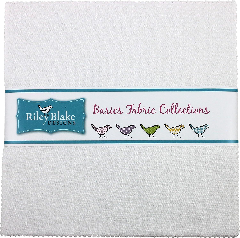 "Swiss Dots White on White 10"" Stacker 42 10-inch Squares Layer Cake Riley Blake 10-790-150-42"