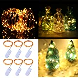 Pack of 6 LED Moon Starry Lights with 20 Fairy Micro LEDs on 5feet/1.5meter Copper Coated Copper Wire, 2 x CR2032 Battery Power(Included), for DIY Wedding Centerpiece or Table Decorations (Warm White)