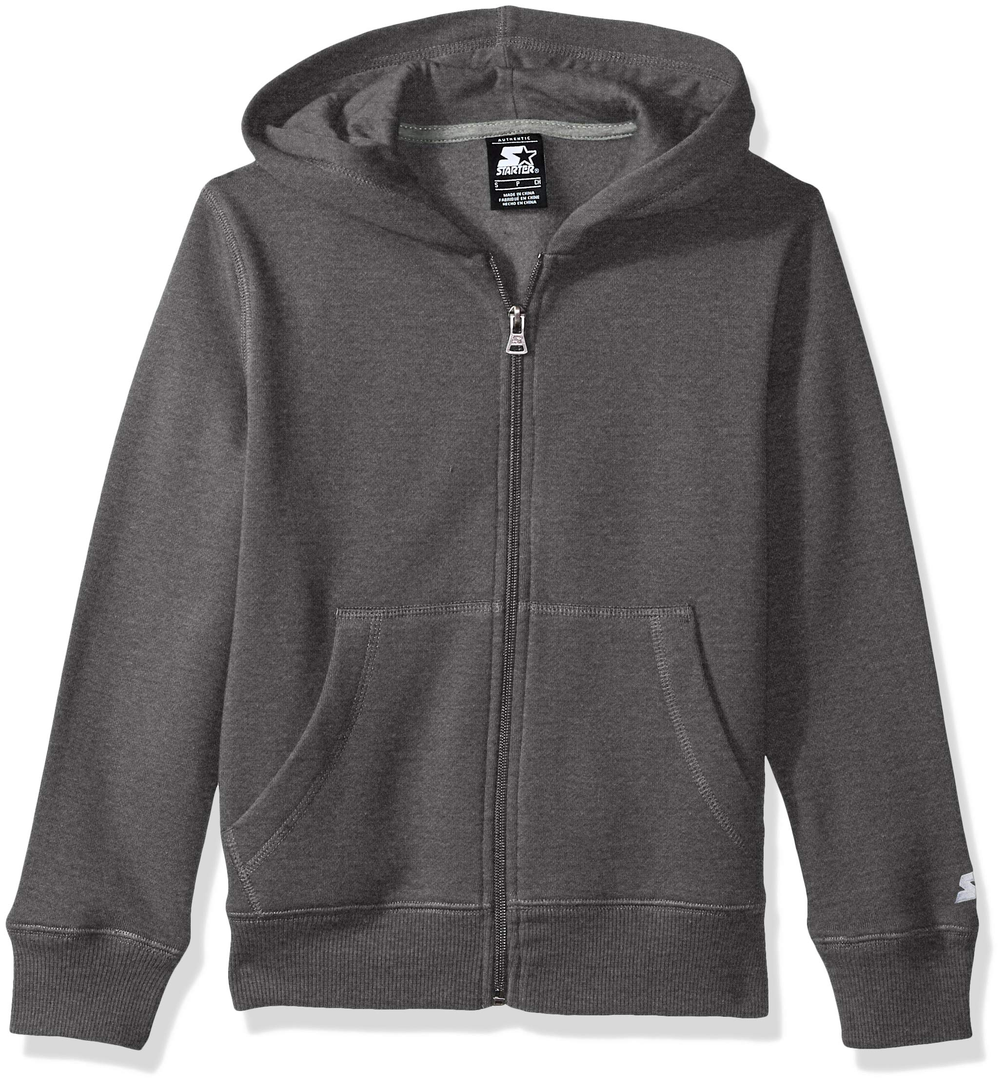 Starter Boys' Solid Zip-Up Hoodie, Amazon Exclusive, Iron Grey Heather, M (8/10)