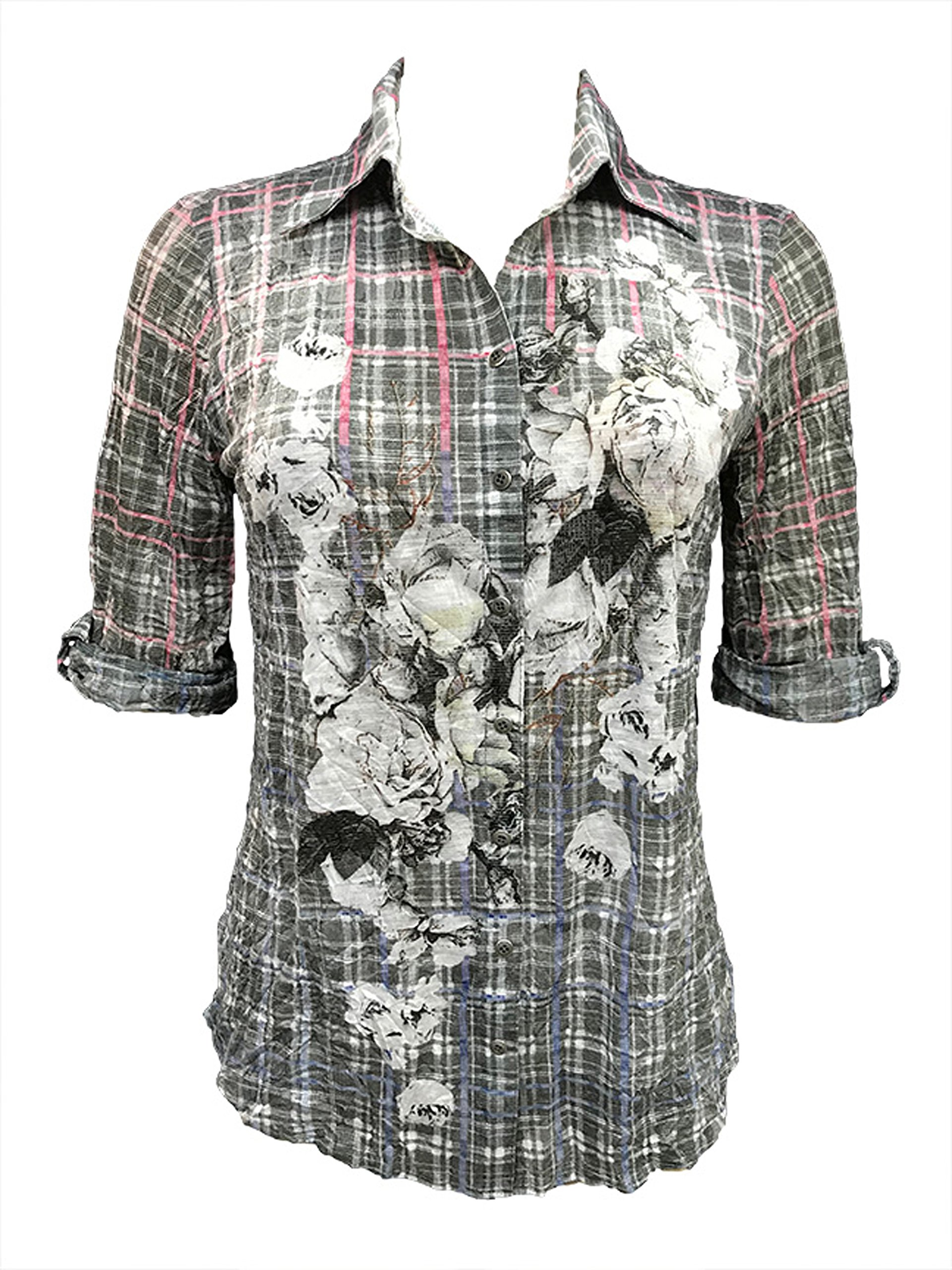 David Cline Woman's Button Down Crushed 3/4 Sleeve Vintage Shirt. Super Soft Comfortable Fabric.
