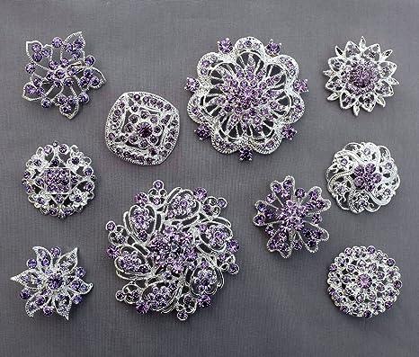 7cabfbe4f Amazon.com: 10 Light Amethyst Lavender Purple Assorted Crystal Brooch  Rhinestone Brooch Set Crystal Wedding Brooch Bouquet DIY Kit US Seller  BT997: Arts, ...